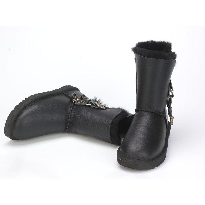 Nouveauté bottes de fourrure d'hiver australie bottes de neige en peau de mouton laine naturelle mi-mollet bottes bouton en cristal anti-dérapant femmes bottes