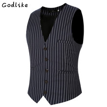 GODLIKE 2017 Men fashion new autumn slim fit stripe vest male casual high quality suit vests business dress vest plus size 6XL