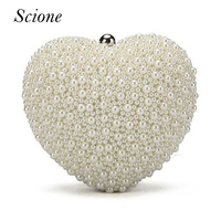 Women Heart Shape Pearl Beaded Evening Bags Day Clutches Bridal Clutch Purse Party Wedding Chain Shoulder