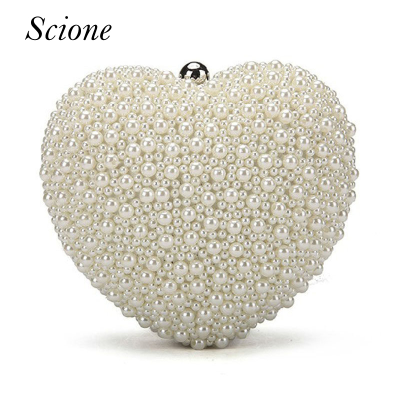 Women Heart Shape Pearl Beaded Evening Bags Day Clutches Bridal Clutch Purse Party Wedding Chain Shoulder Bag Phone Pouch Li387 women colorful handbags crystal beaded day clutches ladies chain evening bags messenger bags clutch pouch purse wallets for lady