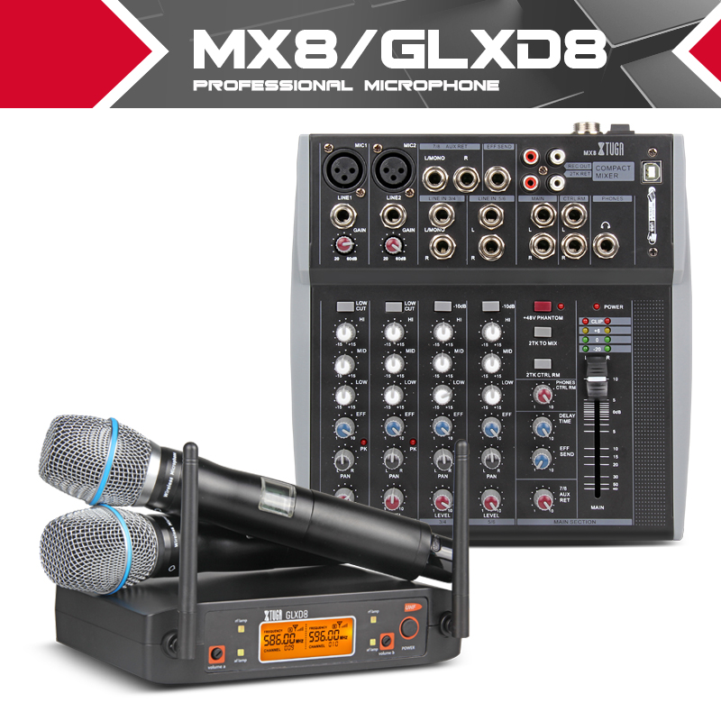 XTUGA audio 2 Channel Headset Mic System UHF Wireless Microphones mixer sound with Screen Distance Stage