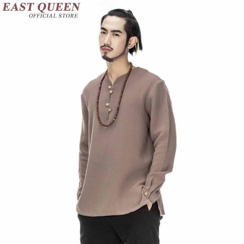Chinese shirt bouse mannen traditionele chinese kleding voor mannen mannelijke Chinese mandarijn kraag shirt kung fu outfit tops KK1649