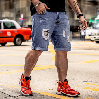 GXXH Mens Denim Shorts Plus Size 28-48 Big and Tall Mens Ripped Stretch Jeans Shorts Retro Casual Style Distressed Shorts S-8XL