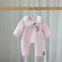Lente/Herfst Baby meisjes Bloemen puur Katoen lange mouw Rompertjes kant Jumpsuit Outfits baby een stuk pak boutique kleding
