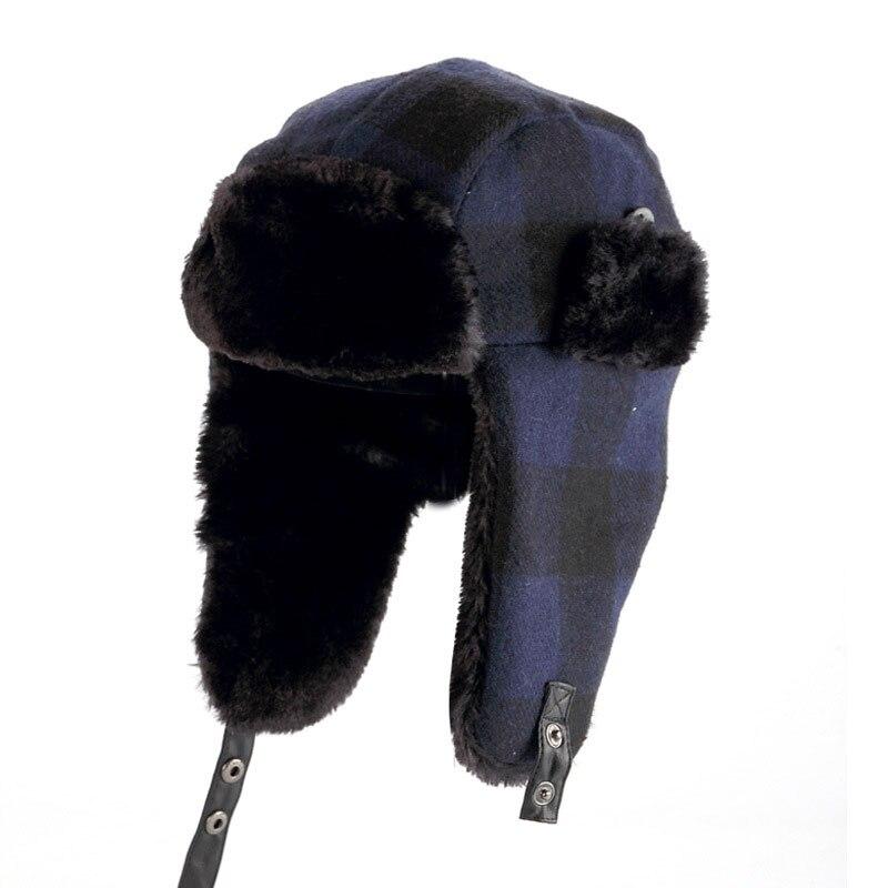 Unisex Plaid Winter Bomber Hat Women Men s Hats with Ear Flaps ... 433b438633c