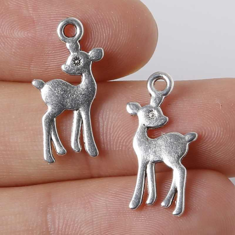 Hot Selling 16pcs 11x21mm Zinc Alloy Antique Silver Plating Fawn DIY Charms Pendants Handmade Bracelet Jewelry Children Gifts