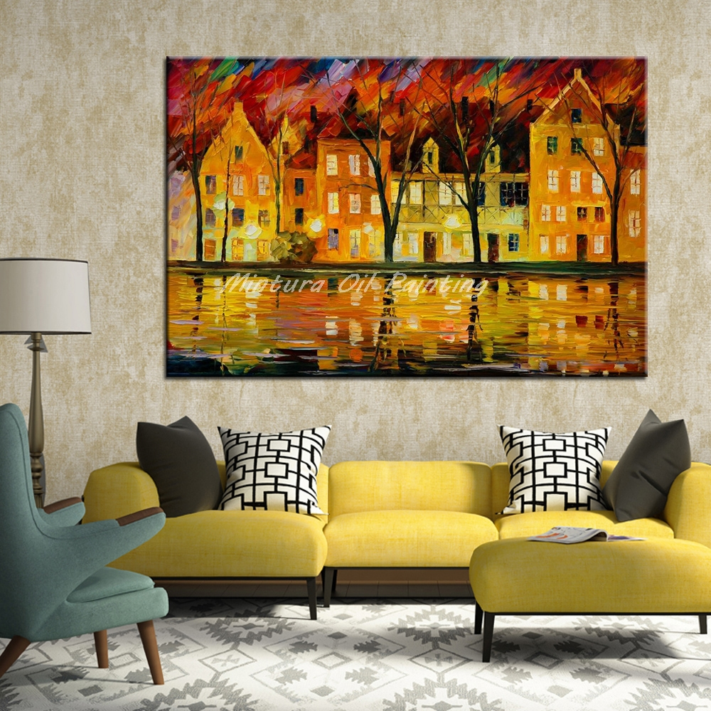 Mintura Pictures Hand Painted Canvas Oil Painting Modern Abstract ...
