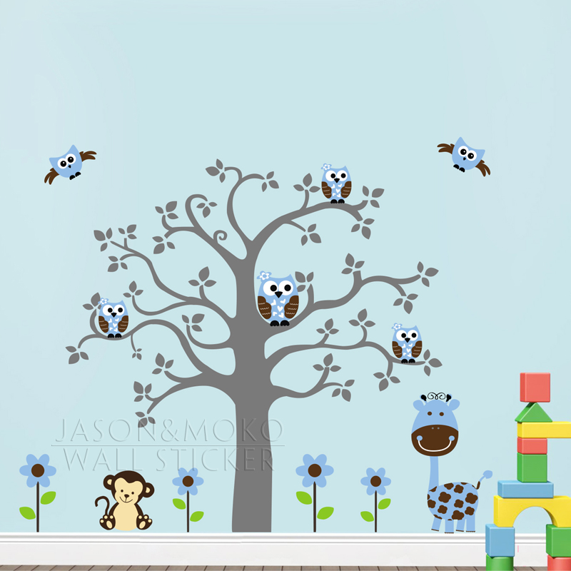 Lucu monyet giraffe owl bunga pohon diy vinyl wallpaper wall sticker mural decal nursery bayi anak