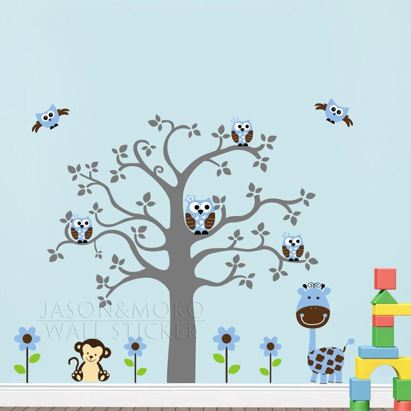 Mignon singe girafe hibou fleurs arbre bricolage vinyle papier peint mur autocollant Mural décalcomanie pépinière bébé enfants chambre maison 160x170 cm