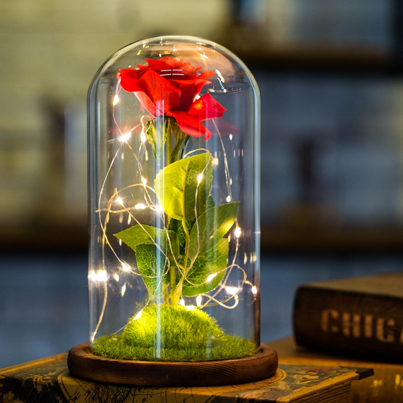 USB LED Schönheit Rose Und Biest Rote Blume In Glas Handwerk Batterie Powered String Valentinstag Mutter der Tag geschenke Drop Verschiffen