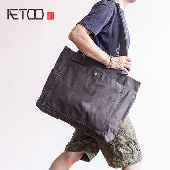 5ffea847c9e9 AETOO большой ёмкость приливной мешок холст для мужчин сумка Винтаж Сумка