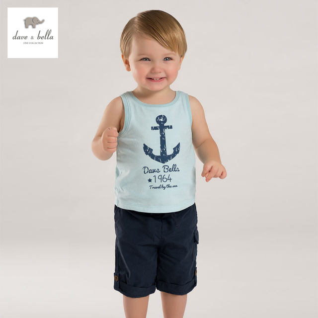 DB3798 dave bella summer baby boy sleeveless cotton t shirt infant clothes toddle tees boys anchor  tops kids vest t-shirt