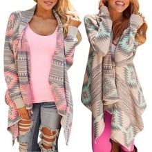 Ladies Women's Irregular Cardigan Coat Geometric Print Long Sleeve Tops Chic