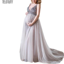 99772a00495 TELOTUNY Ladies Dress Sexy Women Pregnant Sling V Neck Sequin Cocktail Long  Maxi Prom Gown Women