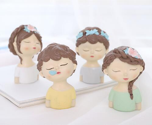 Moule Silicone garçon et fille avec feuilles fleur avatar fait à la main tête d'ange fondant gâteau décoration argile résine arôme pierre moule