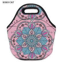 Women Lunch Bag 3D Printed Mandala Flower Pink Waterproof Neoprene Portable Bags Ladies Fashion Travelling Snack