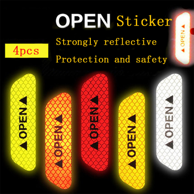 Autocollants réfléchissants d'avertissement de collision de sécurité de porte de voiture de 4 pièces autocollants ouverts autocollants décoratifs de papier réfléchissant de longue distance 1