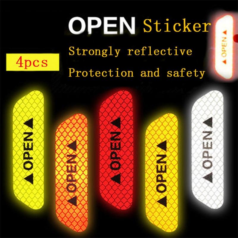 4 шт. автомобиля двери безопасности анти-столкновения предупреждение светоотражающие наклейки ОТКРЫТЫЕ наклейки на дальние расстояния Светоотражающие бумажные декоративные наклейки