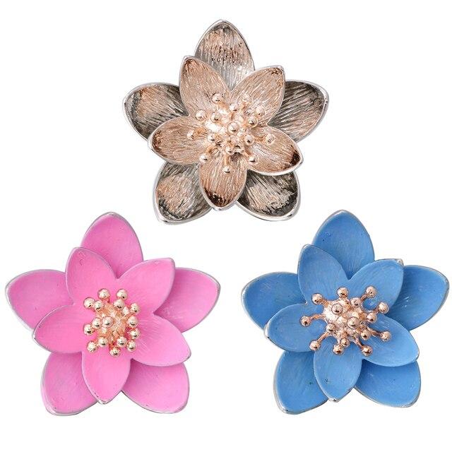 5 sztuk/partia wysokiej jakości 18mm przystawki przycisk biżuteryjny duży kwiat lotosu zatrzaski Fit Snap bransoletka dla kobiet zatrzaski biżuteria