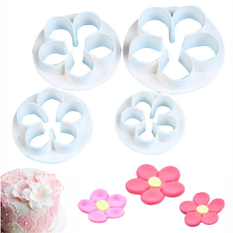TTLIFE 4Pcs/Set Plum Flower Plunger Cookie Cutter Fondant Cake Mold Sugarcraft Decorating Tools Pastry Chocolate Baking Moulds