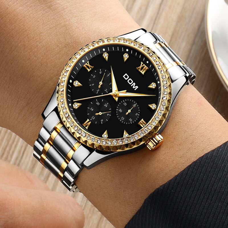 DOM Mens Watches Top Brand Luxury Waterproof Gold Quartz reloj de - Relojes para hombres - foto 3