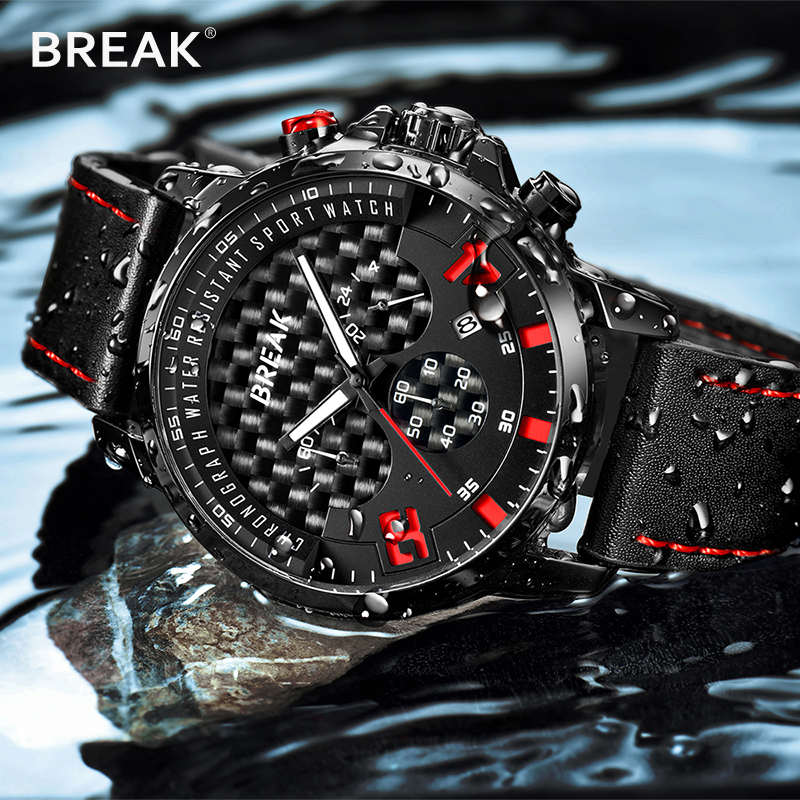 Relogio Masculino BREAK 2018 Fashion Quartz Men Watches Top Brand Luxury Leather Wrist Watches Waterproof Multifunction clock 2017 luxury brand wishdiot fashion leather strap multifunction watches men quartz clock waterproof wristwatch relogio masculino