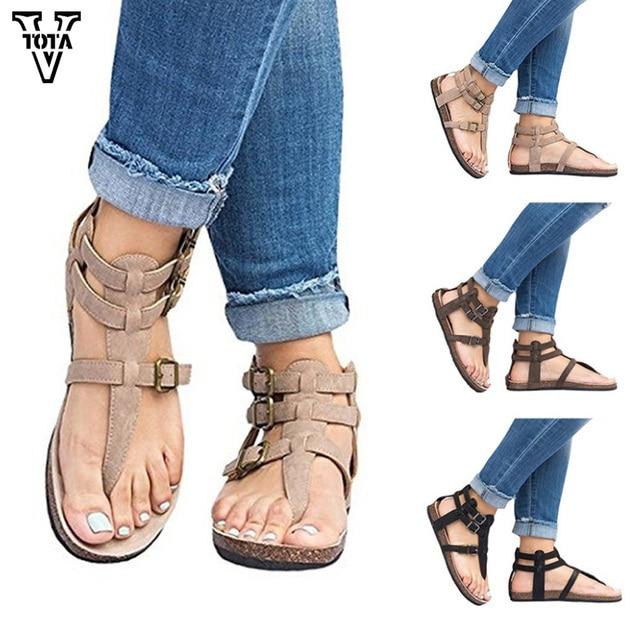 f9b4e8ccb9ca9 VTOTA Rome Women Sandals Casual Shoes Woman Plus Size 35-43 Fashion Women  Summer Shoes Female Beach Flat Sandalias Muje QY