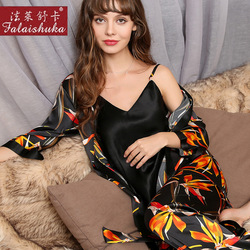 Real Silk Pajamas Female Three-Piece Spring Autumn 100% Silkworm Silk Sleepwear Woman Long-Sleeve Printed Pyjama Sets T8175
