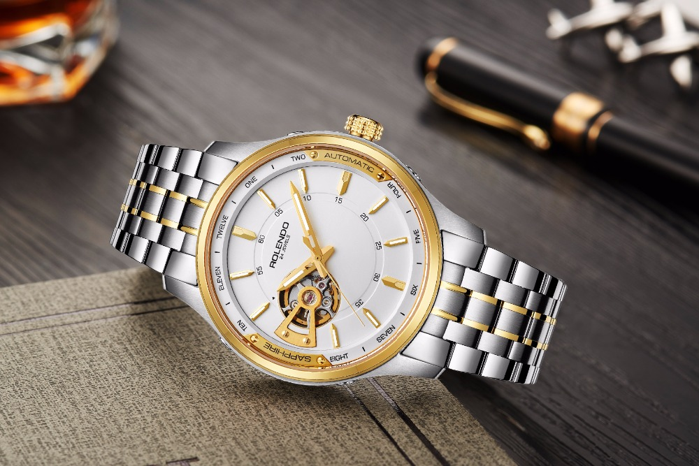 Rolendo 2018 Top Brand Luxury Hot Sale Automatic Men Watch Skeleton Steel Gold Case Watchband Waterproof Man Mechanical Watches цена