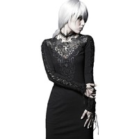 Gothic Black Hollow Out Lace Bodycon Dress for Women Punk Sexy Slim Fitting Long Sleeve Casual Short Mini Dresses