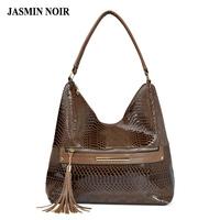 Luxury Women Tassel PU Leather Hobos Shoulder   Bags   Zipper Designer Snake Pattern Large Top-Handle Tote   Bag   Handbags for Ladies