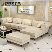 factory wholesale champagne l shaped corner sectional royal classical italian genuine leather sofa set with ottoman chair W38L