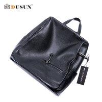 DUSUN Women Litchi Texture Backpack Women Genuine Leather Black Double Shoulder Bag Famous Brand Girl Satchel