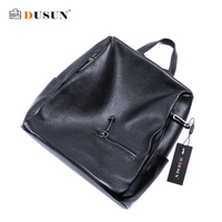 DUSUN Women Litchi Texture Backpack Women Genuine Leather Black Double Shoulder Bag Famous Brand Girl Satchel