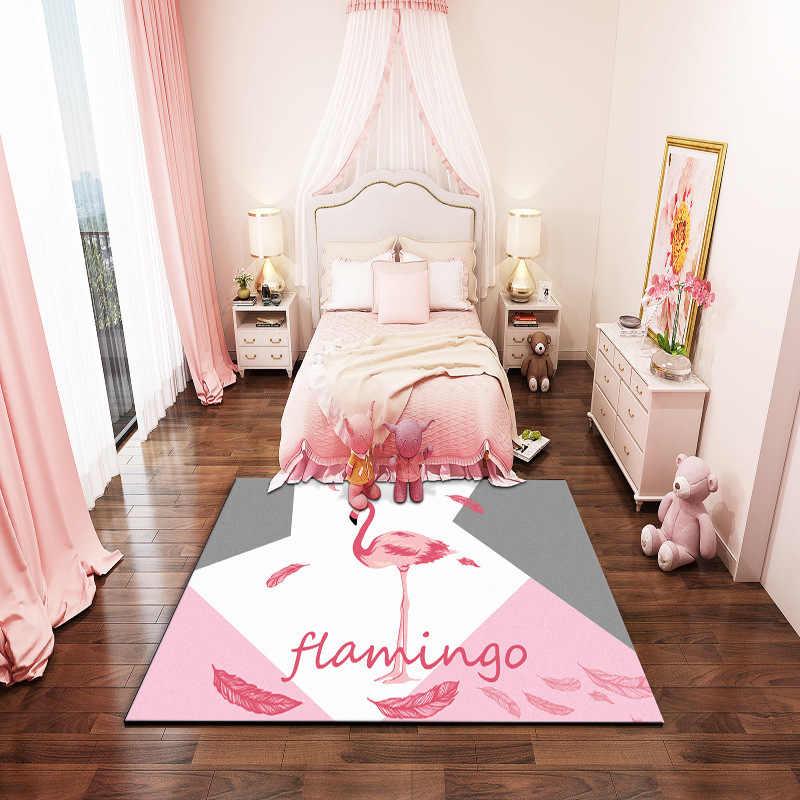 Princess Pink Flamingos Carpet Flannel Antiskid Crawl