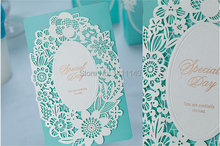 free shipping white laser cut design Mint Green light blue Wedding