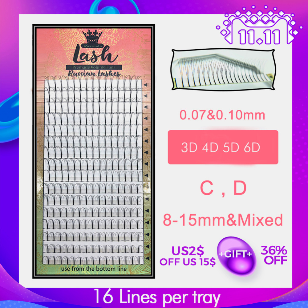 MAS Lashes 16 Lines Premade Volume Fans 3d/4d/5d/6d Lash Russian Volume Eyelash Extensions Pre made Lash Extension Faux Mink song lashes 0 07 0 10mm thickness high quality pre fanned 2d 3d 4d 5d 6d volume lashes eyelash extension two trays per pack