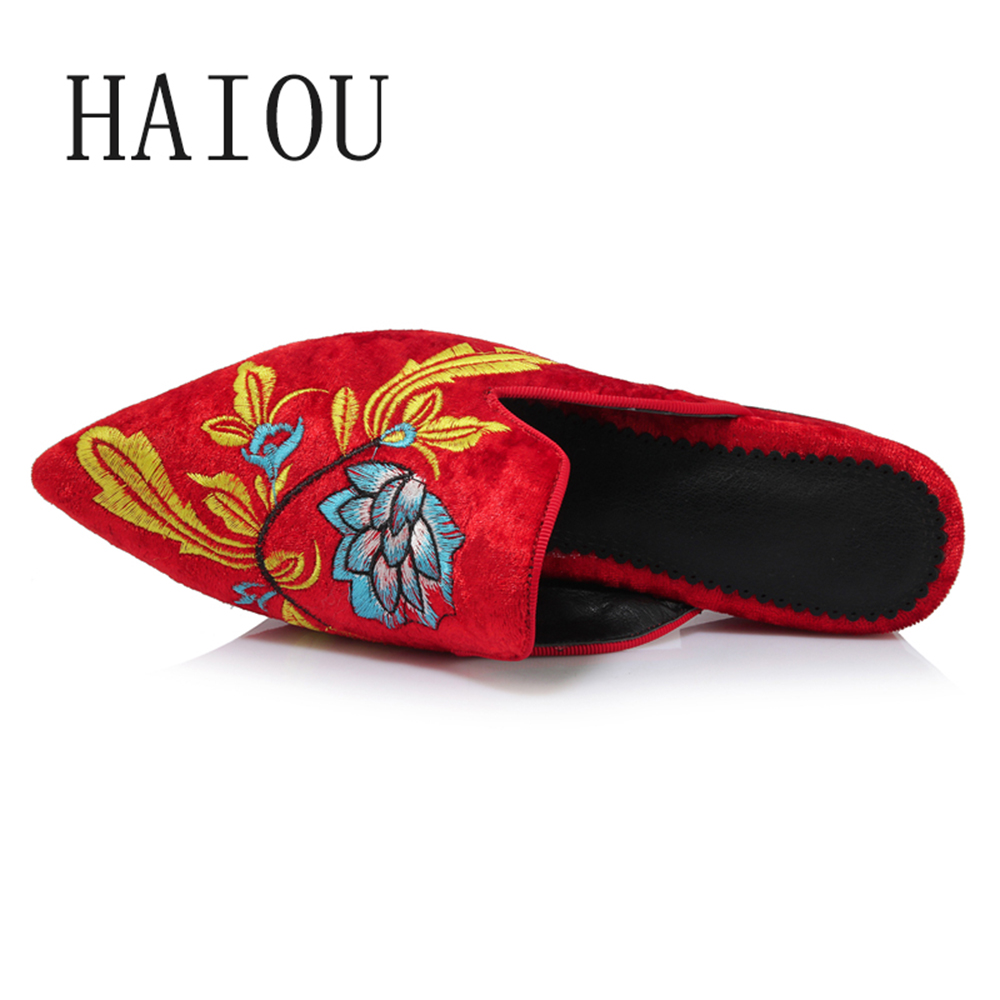 new spring summer slip on shoes for women 2017 ladies low heels sandals women embroidery shoes women black sandals floral shoes New Spring Summer Slip on Shoes for Women 2017 Ladies Low Heels Sandals Women Embroidery Shoes Women Black Sandals Floral Shoes