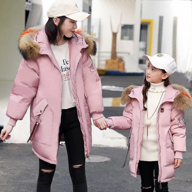 outerwear   coats winter jacket for girls snow wear children korean kids  and mother family matching clothes down parka fur coat 87c992bdd