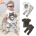 2016 Fashion Little Monsters Baby Boy Clothes Spring Summer Style Baby Girl Clothing Sets 2pcs Short Sleeve Infant Girl Clothes
