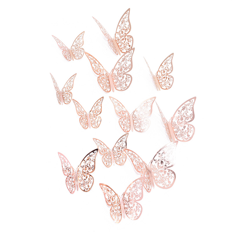 12Pcs/Set 3D Hollow Butterfly Multi-piece Wall Stickers Silver Gold Paper Stickers For Fridge Home Party Wedding Decor