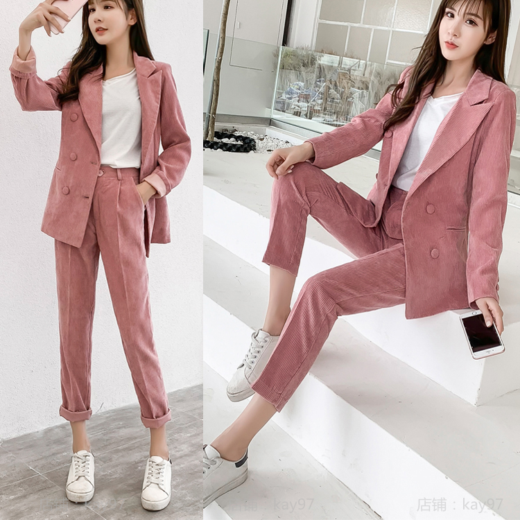 Pink Gold Velvet Pant Suits Two Piece Set Women Casual Office Business Corduroy Formal Work Wear Sets Uniform Styles Elegant