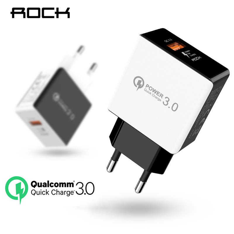 ROCK QC 3.0 Universal Phone Charger Adapter 18W Quick Charging EU Plug Quick Charge Travel Wall Charger For iPhone iPad Samsung  Зарядное устройство