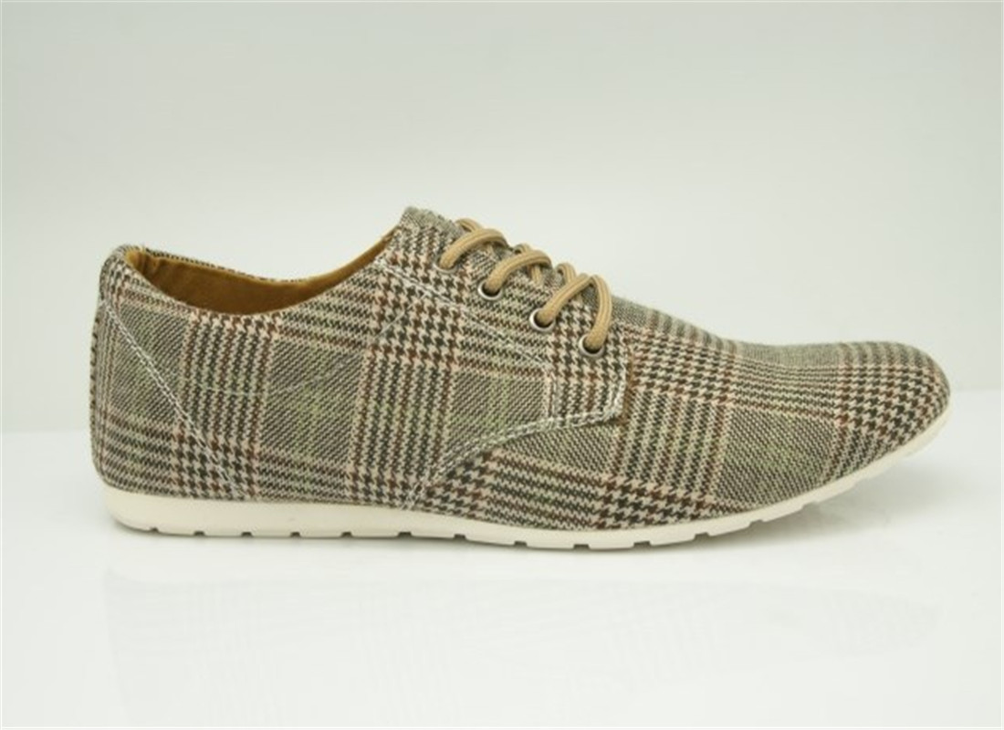 The new spring and summer fashion men s casual canvas shoes beige plaid font b tartan