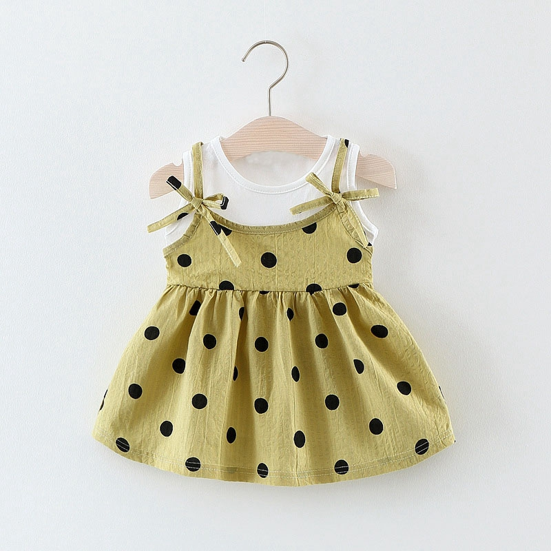 Summer Baby Girls Polka Dot Bow Pleated Tutu Dress Kids Infant Clothes Princess Party Sleeveless Sundress