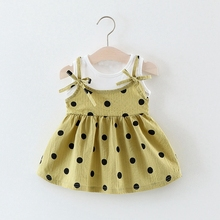 Summer Baby Girls Polka Dot Bow Pleated Tutu Dress Kids Infant Clothes Princess Party Sleeveless Sundress vestidos