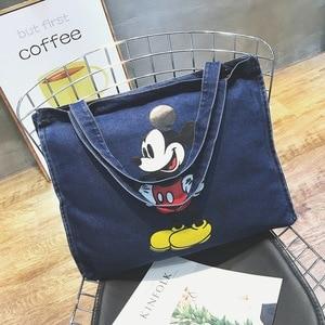 Image 2 - Disney Mickey Mouse Cartoon Large Capacity Shopper cowboy Shoulder bag lady handbag women shopping Leisure bag Fashion street