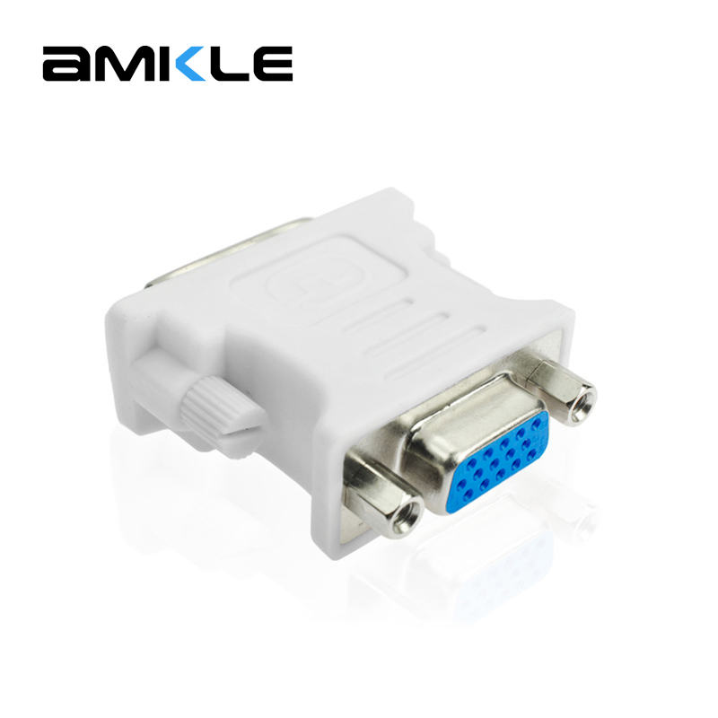 Amkle DVI To VGA Adapter Converter DVI 24+5 Pin Male To VGA Female 1080P Video Converter For HDTV Computer PC Laptop Projector