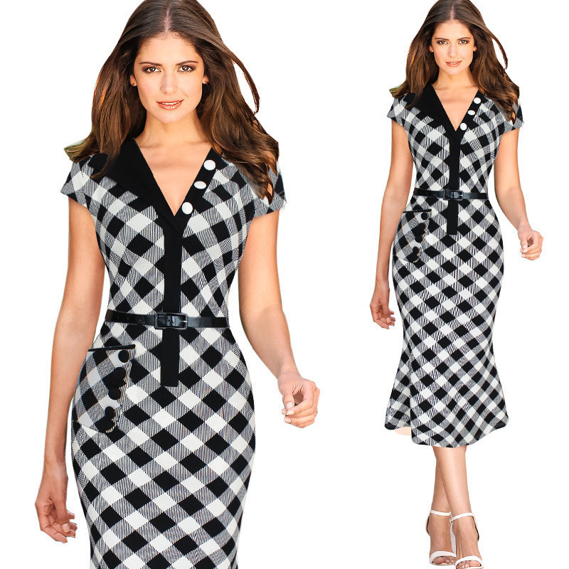 Aliexpress.com : Buy 2016 Summer Office Ladies Dress Plaid Bodycon ...
