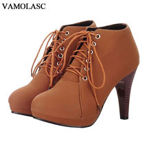 VAMOLASC New Women Autumn Winter Warm Leather Ankle Boots Lace Up Spike High Heel Boots Platform Women Shoes Plus Size 34-43